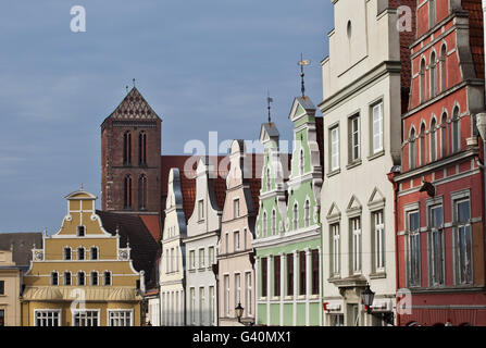 Row of houses, Wismar, Mecklenburg-Western Pomerania - Stock Photo