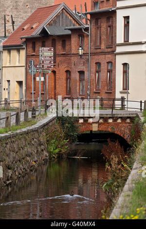 Grube river, artificial water course, Wismar, Mecklenburg-Western Pomerania - Stock Photo