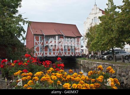 Bridge house over the Grube river, Wismar, Mecklenburg-Western Pomerania - Stock Photo