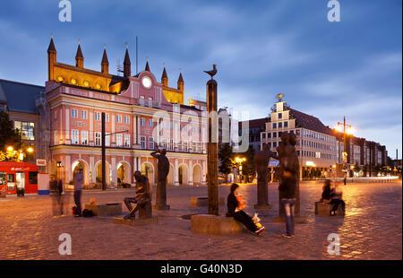 Town hall, Neuer Markt square, Rostock, Mecklenburg-Western Pomerania - Stock Photo