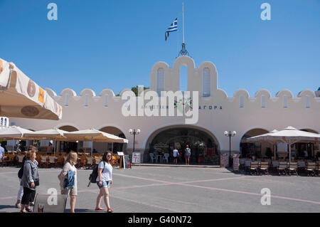 Municipal Market Building, Eleftherias Square, Kos Town, Kos (Cos), The Dodecanese, South Aegean Region, Greece - Stock Photo