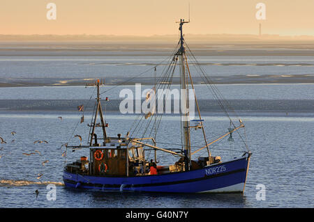 Shrimp boat on the Wadden Sea in front of Norderney, North Sea, Lower Saxony, Germany - Stock Photo
