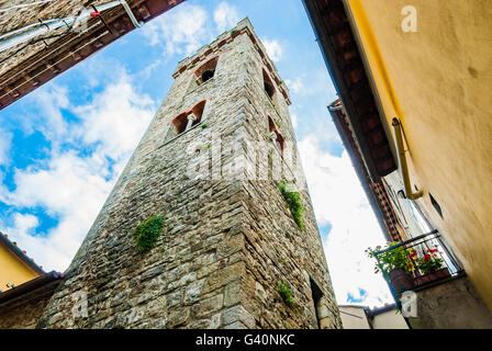 The bell tower of san Niccolo, St. Nicholas, Radda in Chianti, Siena, Tuscany, Italy, Europe - Stock Photo