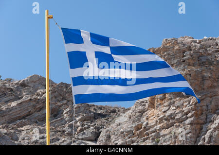 Greek flag at Therma Beach, Agios Fokas, Kos (Cos), The Dodecanese, South Aegean Region, Greece - Stock Photo