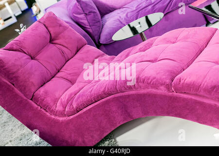 pink and comfort armchair for livingroom on the carpet - Stock Photo