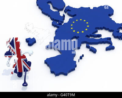 map of United Kingdom with arms and legs that runs away from Europe, 3d illustration - Stock Photo