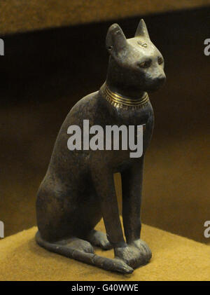 Bronze statue of the goddess Bastet represented as a domesticated cat. The State Hermitage Museum. Saint Petersburg. - Stock Photo