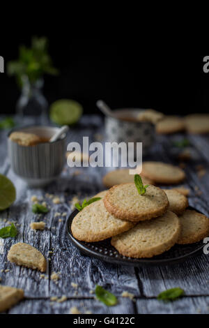 Deliciuos gluten free butter cookies with a nice melt-in-your-mouth sandy texture and a hint of oat flour, flavored - Stock Photo