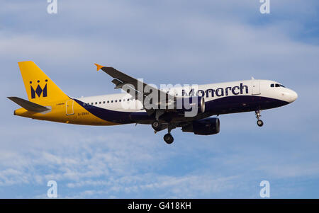 A Monarch Airlines Airbus A320-200 approaching to El Prat Airport in Barcelona, Spain. - Stock Photo