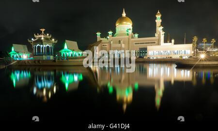 Long exposure Sultan Omar Ali Saifuddin Mosque in Bandar Seri Begawan, Brunei. - Stock Photo