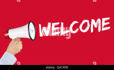 Welcome refugees refugee customer customers immigrants hand with megaphone - Stock Photo