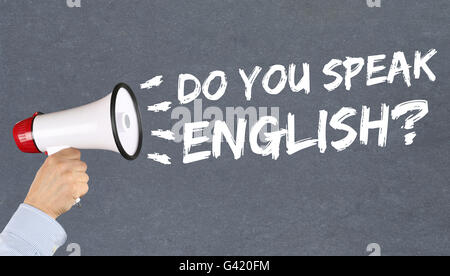 Do you speak English foreign language learning school hand with megaphone - Stock Photo