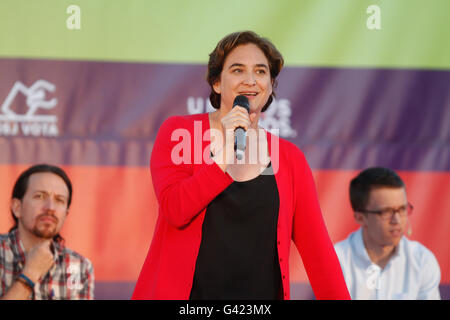 Palma de Mallorca, Spain. 16th June, 2016. Ada Colau , Mayor of Barcelona. In the political rally in Palma de Mallorca, - Stock Photo