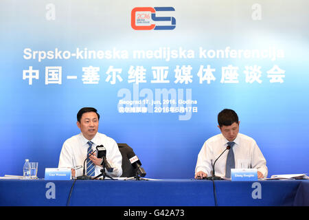 Belgrade, Serbia. 17th June, 2016. Guo Weimin (L), vice minister of the Chinese State Council Information Office, - Stock Photo