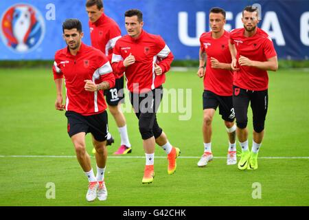 Elseid Hysaj (l-r), Burim Kukeli, Taulant Xhaka, Ergys Kace, Ermir Lenjani during a team training session at the - Stock Photo