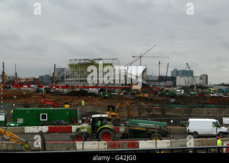 A general view of the London 2012 Olympic Park in Stratford as construction work progresses