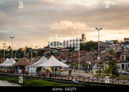 View of the town with the church Nossa Senhora da Conceição, Marechal Deodoro, Maceio, Alagoas, Brazil - Stock Photo