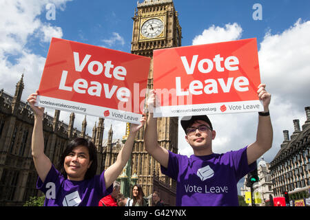 Supporters of the 'Vote leave' campaign on Westminster Bridge to leave the EU on June 23rd - Stock Photo