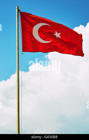 Close up of the Turkish flag. - Stock Photo