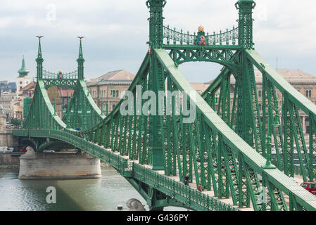 Budapest bridge, view of the Szabadsag - or Liberty - Bridge in Budapest, Hungary. - Stock Photo