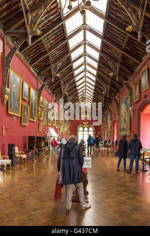 High arched ceiling in the long picture gallery at Kilkenny Castle ( built in 1195 ) in County Kilkenny, Munster, - Stock Photo