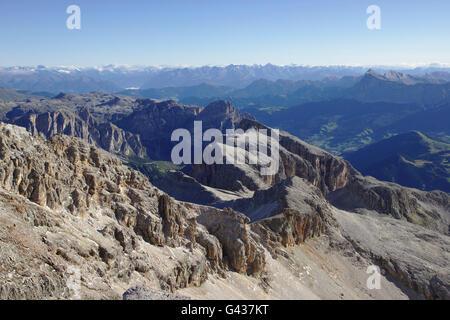 View from Piz Boe (Sella) over Vallonspitze, Neuner, Zehner, Boe-Seekofel (Sella), Sass Songher (Puez), Dolomites, - Stock Photo
