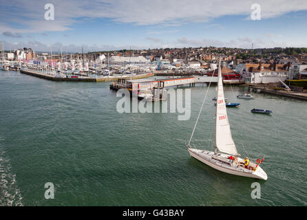 Yachts on the Medina River in Cowes on The Isle of Wight - Stock Photo