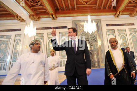 Prime Minister David Cameron views the prayer hall as he tours the Grand Mosque in Muscat, Oman.