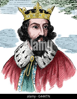 Alfred the Great (849-899). King of Wessex from 871-899. Defended his kingdom against the Viking. Portrait. Engraving, - Stock Photo