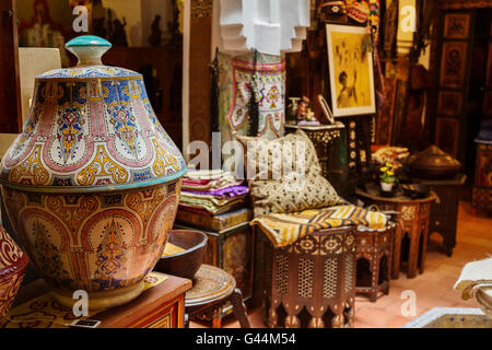 Antiques dealer and souvenirs shop. Medina Grand Socco, the great souk, old city Tangier. Morocco Africa
