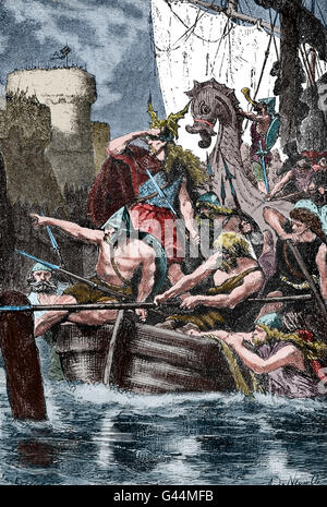 Vikings attacking the Mediterranean coast. 10th century. Engraving. Color. - Stock Photo