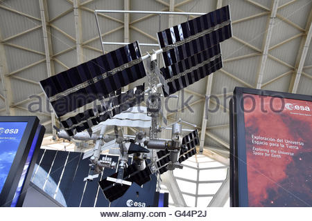 Model of  European Space Agency's (ESA) International Space Station (ISS) displayed at Science Museum in Valencia - Stock Photo