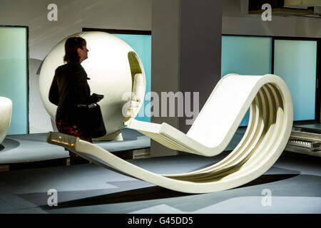 ADAM, Art & Design Atomium Museum, Brussels, permanent exhibition Plasticarium, design of  objects of the 70s made - Stock Photo