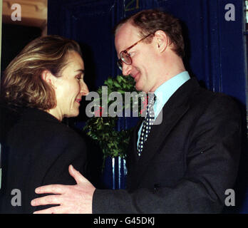 David Willetts with his wife Sarah pictured at their London home this evening (Wednesday) hours after resigning as Paymaster General. Willetts quit office within minutes of publication of a report which accused him of dissembling - a word which can mean concealing or being insincere - before a Commons committee. The loss of Mr Willetts - regarded as a sparkling talent undoubtedly heading for the Cabinet - was a hefty blow to John Major who had hoped to steady the Tory ship after recent crises over Europe. But the harshness of the criticism of Mr Willetts clearly prompted the Paymaster-General