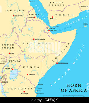 Horn of Africa peninsula political map with capitals, national borders, important cities, rivers and lakes. - Stock Photo