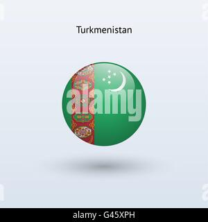 Turkmenistan round flag. Vector illustration. - Stock Photo