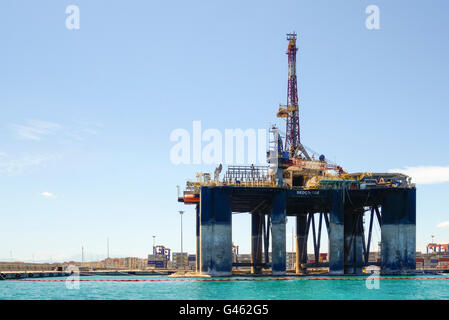 Oil rig Sedco 702, from Liberia moored in Port of Malaga, docked, to be dismantled, Andalusia, Spain.