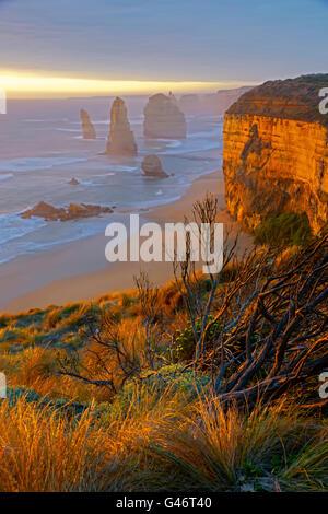 12 Apostles along Great Ocean Road on coast of Victoria, Australia. - Stock Photo