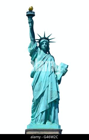 Front view of the Statue of Liberty in New York City on white background - Stock Photo