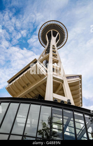SEATTLE - JULY 22: A view from below the Space Needle in Seattle, Washington, on July 22, 2010. - Stock Photo