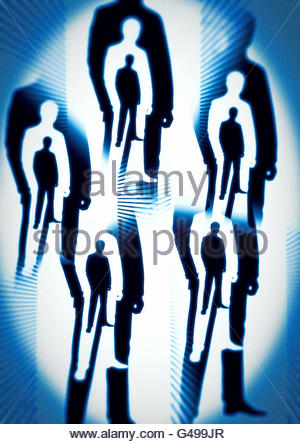 Men in Black area 51 conspiracy roswell illustration - Stock Photo