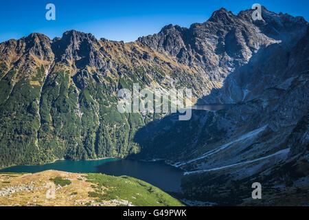 Landscape of mountain lake Morskie Oko near Zakopane, Tatra Mountains, Poland - Stock Photo