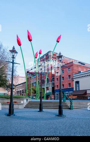 Tulip sculpture, Bastion Square, Victoria, Vancouver Island, British Columbia, Canada - Stock Photo