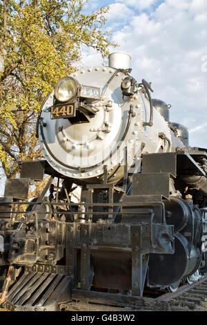 440 SooLine Steam Locomotive resting in city park... - Stock Photo