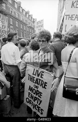 Theatre - Theatre Closures Equity Demonstration - Wardour Street, London - Stock Photo