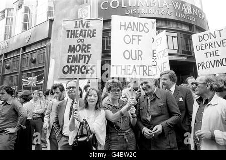 Theatre - Theatre Closures Equity Demonstration - Wardour Street, London - Stock Photo