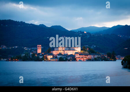 Benedictine Abbey Mater Ecclesiae on the San Giulio island on Lake Orta, Orta San Giulio, Piedmont, Italy. - Stock Photo