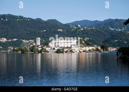 Benedictine Abbey Mater Ecclesiae on the San Giulio island on Lake Orta, Orta San Giulio, Piedmont, Italy. - Stock Photo