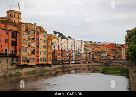 Girona city view, houses in the river Onyar - Stock Photo