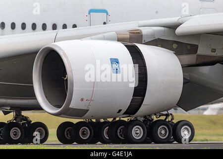 Rolls Royce Trent 970 jet engines on Airbus A380-841 F-WWOW at the Farnborough International Airshow - Stock Photo